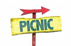 image of nic  - Picnic sign isolated on white - JPG