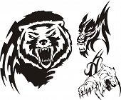 Brown bear polar bear and wolf.