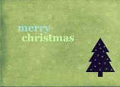 Merry Christmas Postcard With A Tree