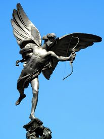 picture of ero  - The aluminium statue of Eros the greek mythological  God Of Love - JPG