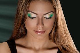 stock photo of jalousie  - Beautiful Young Woman Face - JPG