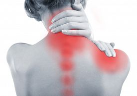 stock photo of red-necked  - Young woman with neck and shoulder pain close up - JPG