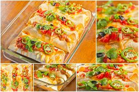 stock photo of enchiladas  - Variety of angles of enchilada casserole in Mexican food collage - JPG