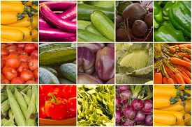 pic of farmer  - Variety of popular farmers market fruits and vegetables in produce collage imagery - JPG