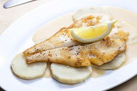 pic of halibut  - fried halibut with sweet potatoes and lemon sauce - JPG