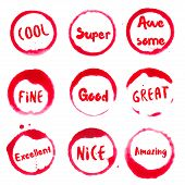 Feeling Good Collection Of Round Watercolor Stains With Cool, Super, Fine, Good, Great, Excellent, N poster