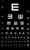 Eye test chart - white on black