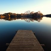 stock photo of pier a lake  - Lake pier - JPG