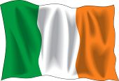 Waving Flag von Irland, isolated on white
