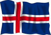 Waving flag of Iceland isolated on white