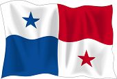Waving Flag von Panama, isolated on white