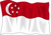Waving Flag von Singapur, isolated on white