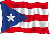 Waving Flag von Puerto-Rico, isolated on white