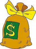 Vector illustration of cartoon stile money bag