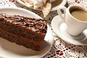 cake with coffee on table