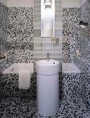 small modern bathroom in mosaic