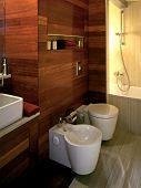 modern bathroom with wooden wall