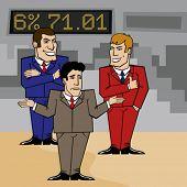 tres empresarios en el centro de negocios discutiendo un problema
