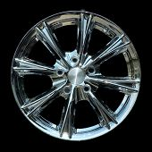 Aluminium metal wheel rim texture isolated on black