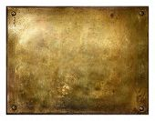 picture of oxidation  - Grungy brushed yellow metal brass plate with screws - JPG