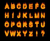 Set of burning Latin alphabet letters. Artistic font. Digital illustration isolated on black backgro