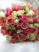 wedding bouquet with pink, red and white roses