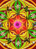 digitaly created peace mandala in the tradition of flowerpower