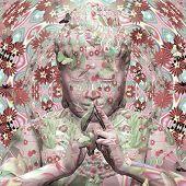 Digitally created peace love and happiness buddha