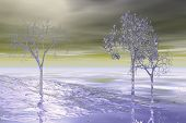 digitally created abstract digital fantasy winterscape