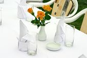 White Tableware And Roses