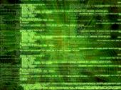 Green software code on complex background