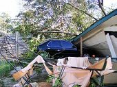 stock photo of katrina  - A house and car damaged by hurricane katrina - JPG