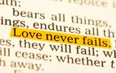 image of christian cross  - Love never fails - JPG