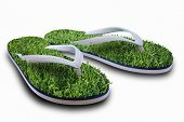Beach slippers with a grass