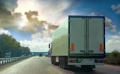picture of semi trailer  - The truck on asphalt road - JPG