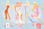 vector image of dancing girls after shopping