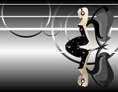 vector image of beauty angel girl listen to music