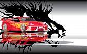 Vector de la imagen del coche de los deportes y la sombra de León