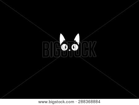 poster of Black Cat In The Dark. The Vector Logo Cat For Tattoo Or T-shirt Design Or Outwear. Cute Print Style