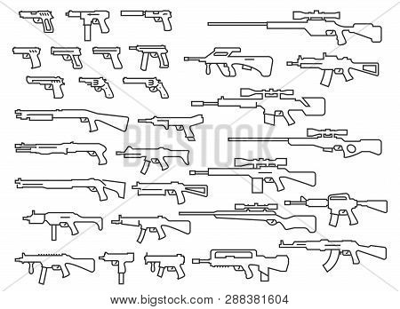 Vector Guns Weapons Set In