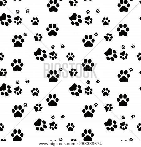 poster of Dog Paw Seamless.cat Paw Dog Paw Kitten Vector Seamless Pattern Wallpaper Background
