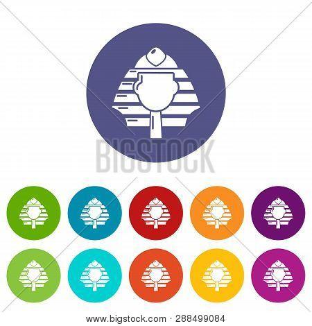 Pharaoh Icons Color Set Vector