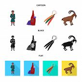 Vector Illustration Of Culture And Sightseeing Logo. Collection Of Culture And Originality Stock Vec poster