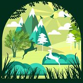 Paper Art, Cut And Craft Style Of Green Forest And Deers Wildlife With Nature Background Layers As S poster