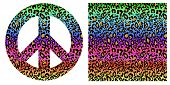 Fashionable colorful seamless background and hippie peace symbol with leopard print. Fashion design  poster
