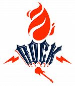 Flames Lightning Bolt And Typing Rock Vector Emblem Or Logo, Rock And Roll, Hard Rock, Punk And Heav poster