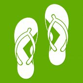 Flip Flop Sandals Icon White Isolated On Green Background. Illustration poster