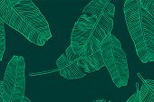 Tropical Leaves Pattern. Seamless Texture With Banana Leaf. Hand Drawn Tropic Foliage. Exotic Green  poster
