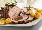 foto of veal meat  - roast of veal with potatoes - JPG