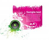Vector purple musical banner for accommodation of the text